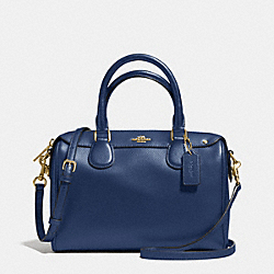COACH F57521 Mini Bennett Satchel In Crossgrain Leather IMITATION GOLD/MARINA