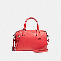 COACH F57521 Mini Bennett Satchel In Crossgrain Leather SILVER/BRIGHT RED