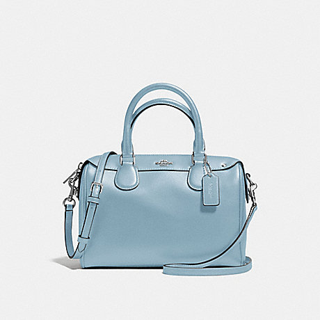 COACH f57521 MINI BENNETT SATCHEL IN CROSSGRAIN LEATHER SILVER/CORNFLOWER