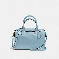 MINI BENNETT SATCHEL IN CROSSGRAIN LEATHER - f57521 - SILVER/CORNFLOWER