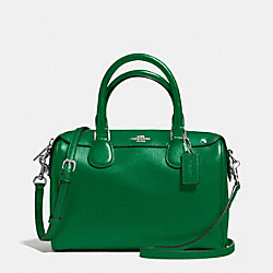 COACH F57521 Mini Bennett Satchel In Crossgrain Leather SILVER/JADE