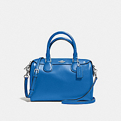 COACH F57521 Mini Bennett Satchel In Crossgrain Leather SILVER/LAPIS