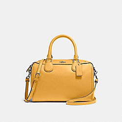 MINI BENNETT SATCHEL IN CROSSGRAIN LEATHER - f57521 - SILVER/MUSTARD