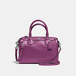 COACH F57521 Mini Bennett Satchel In Crossgrain Leather SILVER/MAUVE