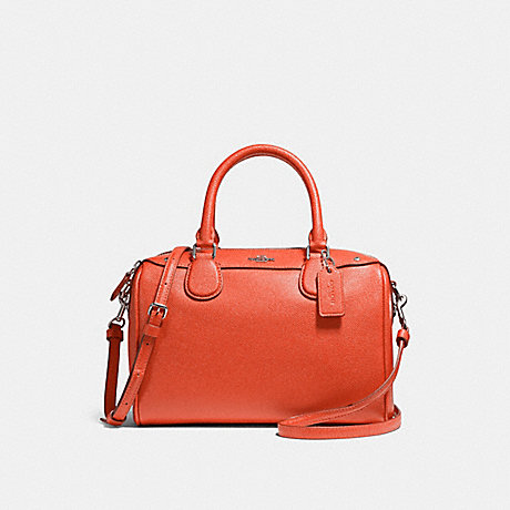 COACH f57521 MINI BENNETT SATCHEL ORANGE RED/SILVER