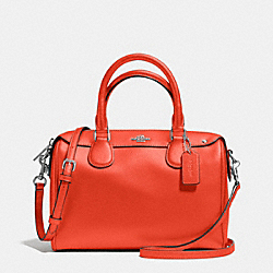 COACH F57521 Mini Bennett Satchel In Crossgrain Leather SILVER/ORANGE
