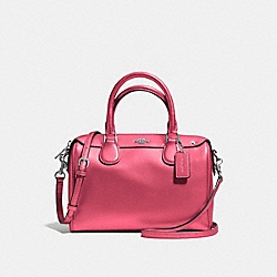MINI BENNETT SATCHEL IN CROSSGRAIN LEATHER - f57521 - SILVER/STRAWBERRY