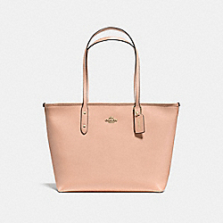 CITY ZIP TOTE IN CROSSGRAIN LEATHER - f57522 - IMITATION GOLD/NUDE PINK