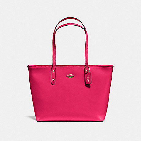 COACH f57522 CITY ZIP TOTE IN CROSSGRAIN LEATHER IMITATION GOLD/BRIGHT PINK