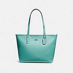COACH F57522 City Zip Tote BLUE GREEN/BLACK ANTIQUE NICKEL