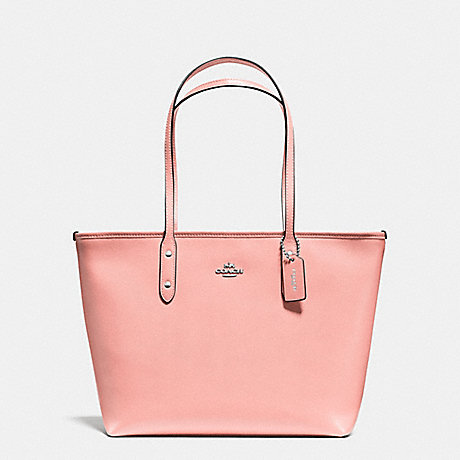 COACH f57522 CITY ZIP TOTE IN CROSSGRAIN LEATHER SILVER/BLUSH