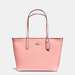CITY ZIP TOTE IN CROSSGRAIN LEATHER - f57522 - SILVER/BLUSH