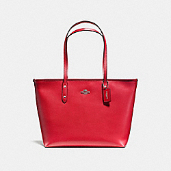 COACH F57522 City Zip Tote In Crossgrain Leather SILVER/BRIGHT RED