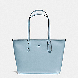 COACH F57522 City Zip Tote In Crossgrain Leather SILVER/CORNFLOWER