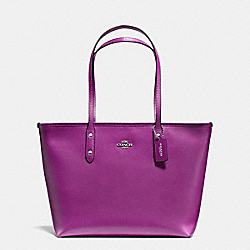CITY ZIP TOTE IN CROSSGRAIN LEATHER - f57522 - SILVER/HYACINTH