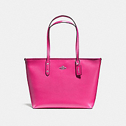 COACH F57522 City Zip Tote In Crossgrain Leather SILVER/BRIGHT FUCHSIA