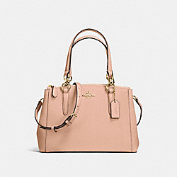 COACH F57523 - MINI CHRISTIE CARRYALL IN CROSSGRAIN LEATHER IMITATION GOLD/NUDE PINK