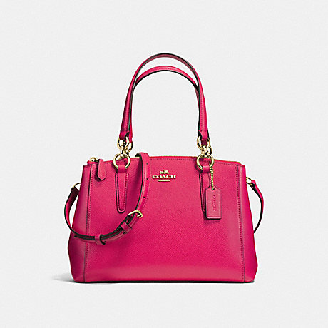 COACH f57523 MINI CHRISTIE CARRYALL IN CROSSGRAIN LEATHER IMITATION GOLD/BRIGHT PINK