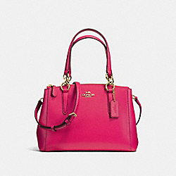COACH F57523 - MINI CHRISTIE CARRYALL IN CROSSGRAIN LEATHER IMITATION GOLD/BRIGHT PINK