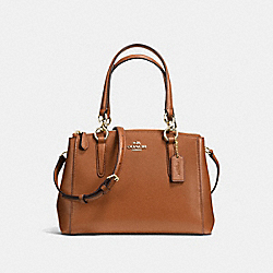 COACH F57523 - MINI CHRISTIE CARRYALL IN CROSSGRAIN LEATHER IMITATION GOLD/SADDLE