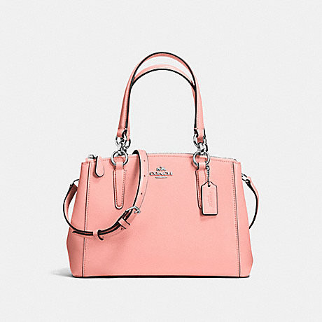 COACH f57523 MINI CHRISTIE CARRYALL IN CROSSGRAIN LEATHER SILVER/BLUSH