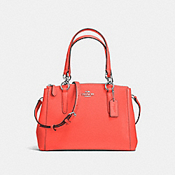 COACH F57523 - MINI CHRISTIE CARRYALL IN CROSSGRAIN LEATHER SILVER/BRIGHT ORANGE