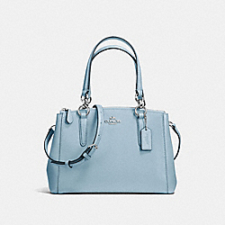 COACH F57523 - MINI CHRISTIE CARRYALL IN CROSSGRAIN LEATHER SILVER/CORNFLOWER