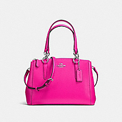 COACH F57523 - MINI CHRISTIE CARRYALL IN CROSSGRAIN LEATHER SILVER/BRIGHT FUCHSIA