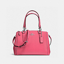 COACH F57523 - MINI CHRISTIE CARRYALL IN CROSSGRAIN LEATHER SILVER/STRAWBERRY