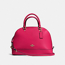 COACH F57524 Sierra Satchel In Crossgrain Leather IMITATION GOLD/BRIGHT PINK