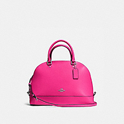 SIERRA SATCHEL IN CROSSGRAIN LEATHER - f57524 - SILVER/BRIGHT FUCHSIA