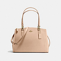 COACH F57525 - CHRISTIE CARRYALL IN CROSSGRAIN LEATHER IMITATION GOLD/BEECHWOOD