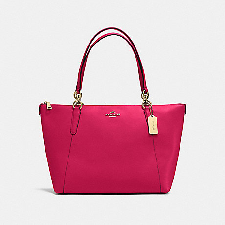 COACH f57526 AVA TOTE IN CROSSGRAIN LEATHER IMITATION GOLD/BRIGHT PINK
