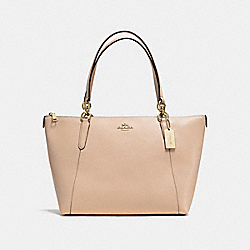 AVA TOTE IN CROSSGRAIN LEATHER - f57526 - IMITATION GOLD/BEECHWOOD