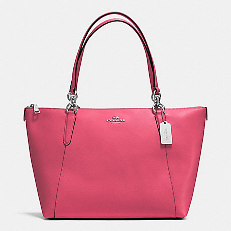 COACH f57526 AVA TOTE IN CROSSGRAIN LEATHER SILVER/STRAWBERRY