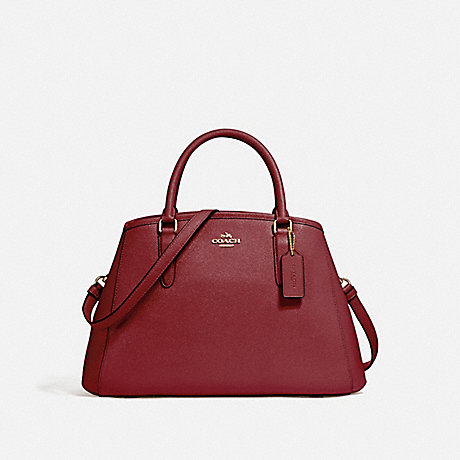 COACH f57527 SMALL MARGOT CARRYALL IN CROSSGRAIN LEATHER LIGHT GOLD/CRIMSON