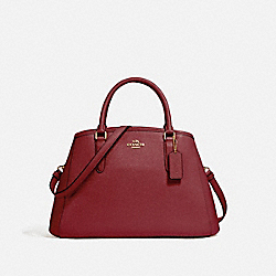 COACH F57527 - SMALL MARGOT CARRYALL IN CROSSGRAIN LEATHER LIGHT GOLD/CRIMSON