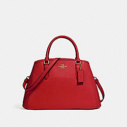 COACH F57527 Small Margot Carryall TRUE RED/LIGHT GOLD