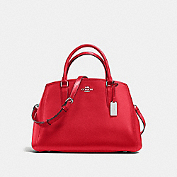SMALL MARGOT CARRYALL IN CROSSGRAIN LEATHER - f57527 - SILVER/BRIGHT RED