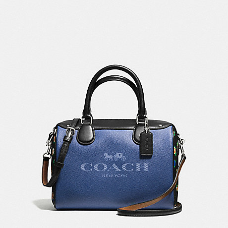 COACH f57533 MINI BENNETT SATCHEL IN DENIM WITH HORSE AND CARRIAGE SILVER/DENIM BLACK MULTI