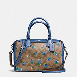 MINI BENNETT SATCHEL IN FLORAL LOGO PRINT COATED CANVAS - f57534 - SILVER/KHAKI BLUE MULTI