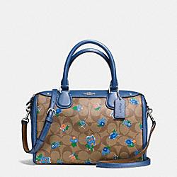 COACH F57534 Mini Bennett Satchel In Floral Logo Print Coated Canvas SILVER/KHAKI BLUE MULTI