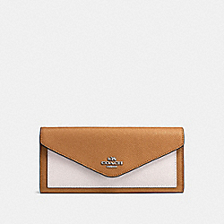 COACH F57536 Soft Wallet In Colorblock LIGHT SADDLE CHALK/SILVER