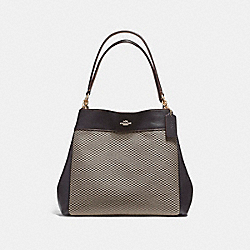 COACH F57540 - LEXY SHOULDER BAG IN LEGACY JACQUARD LIGHT GOLD/MILK
