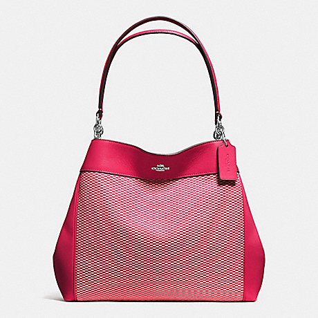 COACH f57540 LEXY SHOULDER BAG IN LEGACY JACQUARD SILVER/MILK BRIGHT PINK