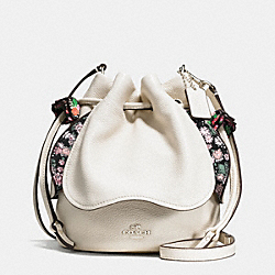 PETAL BAG IN PEBBLE LEATHER - f57543 - SILVER/CHALK
