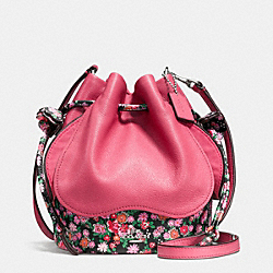 PETAL BAG IN LEATHER FLORAL MIX - f57544 - SILVER/STRAWBERRY PINK