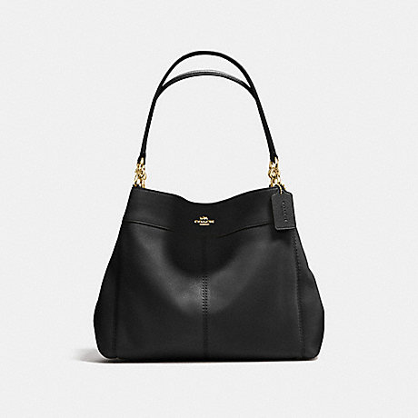 COACH f57545 LEXY SHOULDER BAG IN PEBBLE LEATHER IMITATION GOLD/BLACK