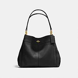 COACH LEXY SHOULDER BAG IN PEBBLE LEATHER - IMITATION GOLD/BLACK - F57545