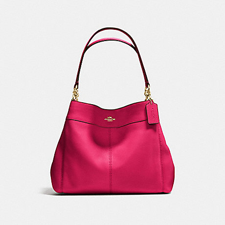 COACH f57545 LEXY SHOULDER BAG IN PEBBLE LEATHER IMITATION GOLD/BRIGHT PINK